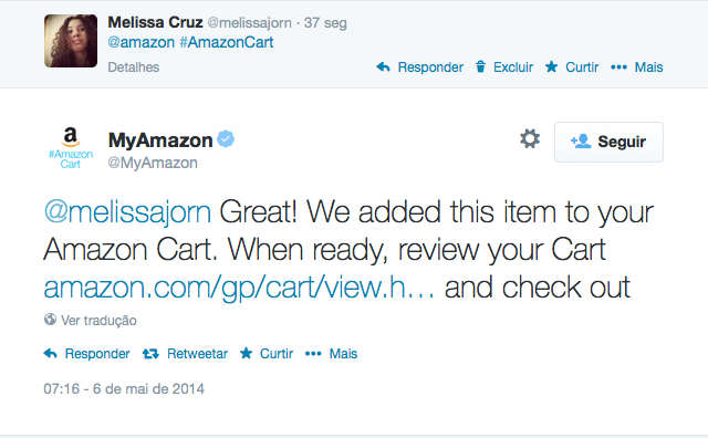 Amazon avisa por reply que produto foi adiciona ao carrinho do cliente (Foto: Reprodução/Melissa Cruz)