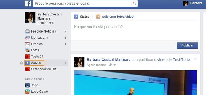 Acesse os conteúdos salvos no seu Facebook (Foto: Reprodução/Barbara Mannara)