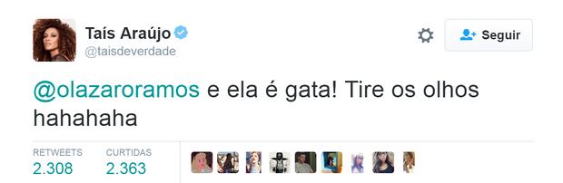 Diálogo de Taís Araújo e Lázaro Ramos faz sucesso n Twitter (Foto: Reprodução/Twitter)