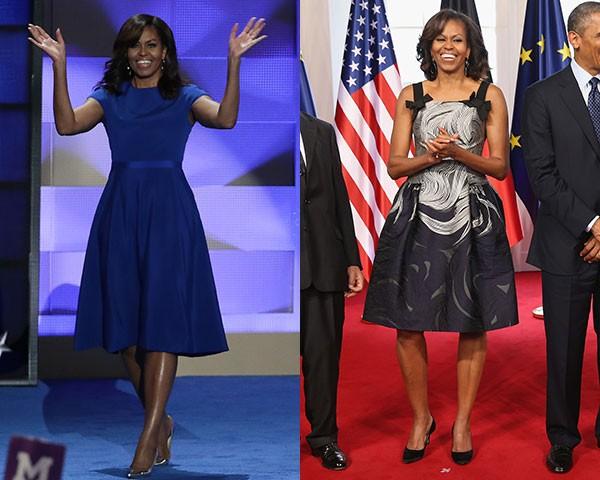 Michelle Obama de Christian Siriano e Carolina Herrera (Foto: Getty Images)