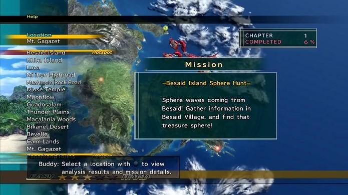 Final Fantasy X-2 HD é bastante linear, as missões podem ser selecionadas no mapa (Foto: Reprodução / Dario Coutinho)