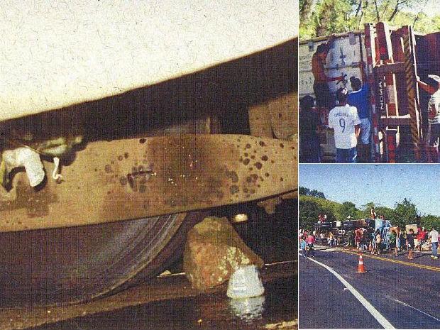 Imagens obtidas do dossiê mostram pedras nos pneus e índios saqueando cargas (Foto: Reprodução)
