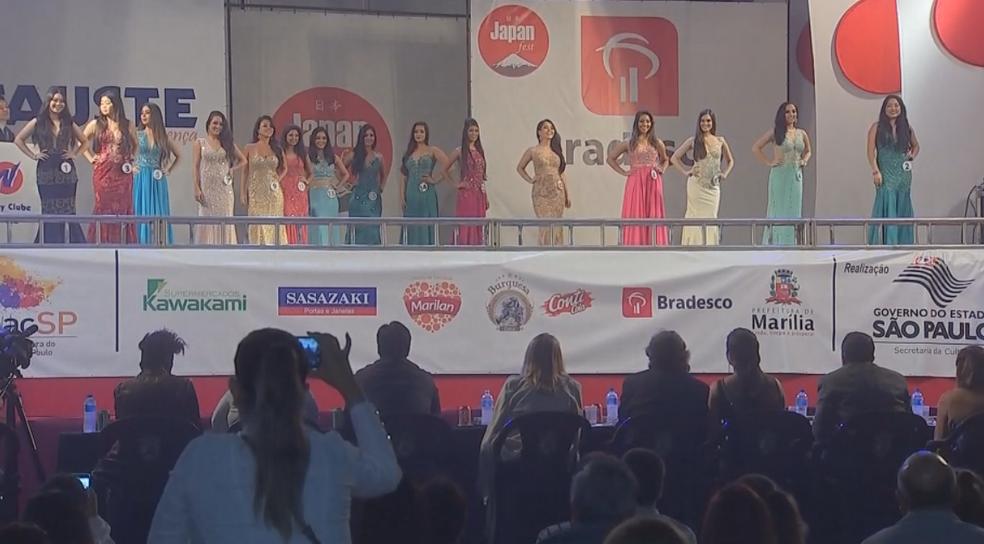 Quinze meninas concorreram no Miss Nikkey em Marília (Foto: Reprodução/TV TEM)