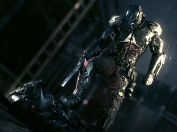 Arkham Knight rende Batman em cena do inédito 'Batman: Arkham Knight' (Foto: Divulgação/WB Games)