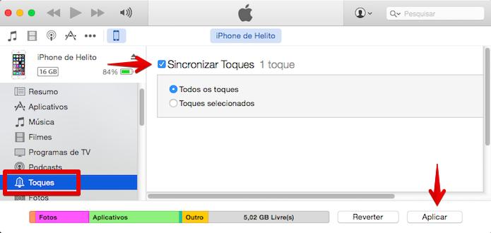 Sincronizando toques do iTunes com o iPhone (Foto: Reprodução/Helito Bijora)  (Foto: Sincronizando toques do iTunes com o iPhone (Foto: Reprodução/Helito Bijora) )