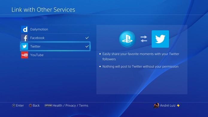 Selecione o YouTube para ligar a sua conta ao PS4 (Foto: Reprodução/André Mello)