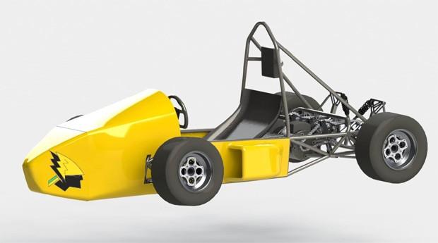 O carro elétrico de alto desempenho será usado em competição Fórmula SAE (Foto: Divulgação)