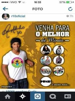 Foto de Ronaldinho usando abadá foi veiculada sem autorização em Abaeté (Foto: Alexandre Lucas/Divulgação)