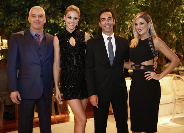Ana Hickmann com o marido, Alexandre Correa, e Ticiane Pinheiro com César Tralli (Foto: Manuela Scarpa/Brazil News)