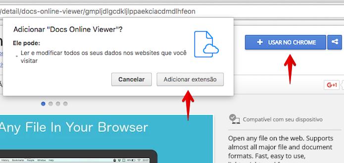 Instalando extensão no Chrome (Foto: Reprodução/Helito Bijora)