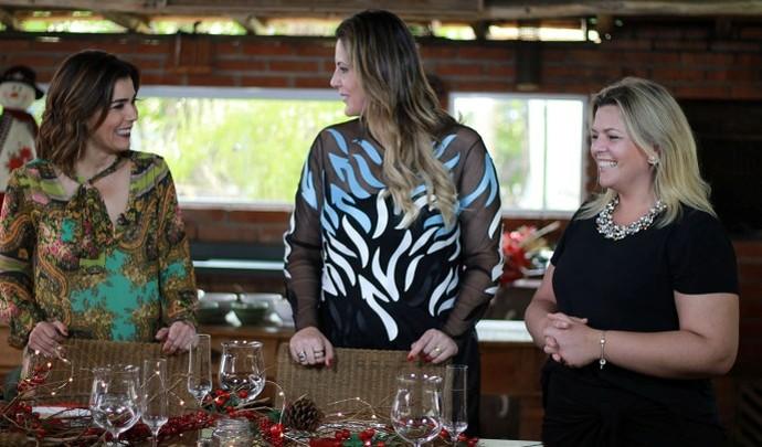 A arquiteta Giselle Martos mostrou uma decoração rústica para mesa de Natal (Foto: Reprodução TV Diário / Nicolas Puglisi)