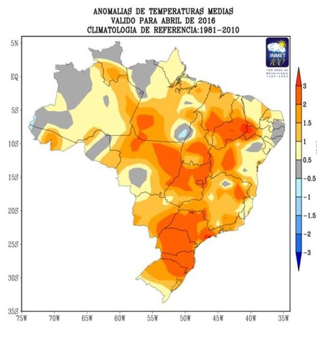 O mapa do Inmet mostra o aumento de temperatura em abril de 2016 (Foto: BBC/Inmet)