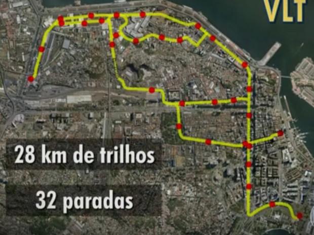 Traçado do VLT no Centro do Rio (Foto: Reprodução/TV Globo)