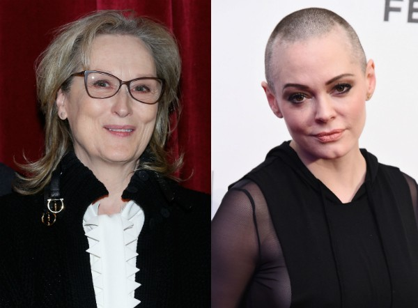 As atrizes Meryl Streep e Rose McGowan (Foto: Getty Images)