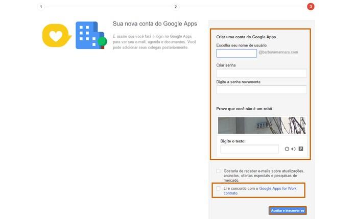 Adicione o nome de usuário e senha para criar a conta de e-mail (Foto: Reprodução/Barbara Mananra)
