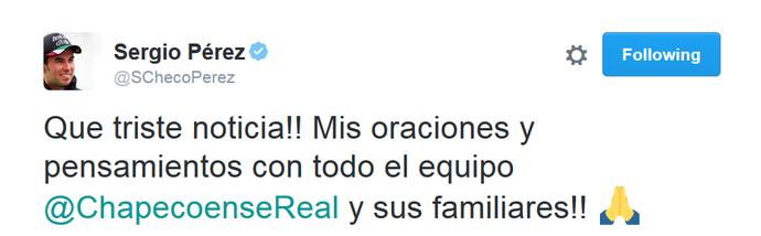 Sérgio Pérez usa twitter para prestar solidariedade após acidente da Chapecoense (Foto: Reprodução)