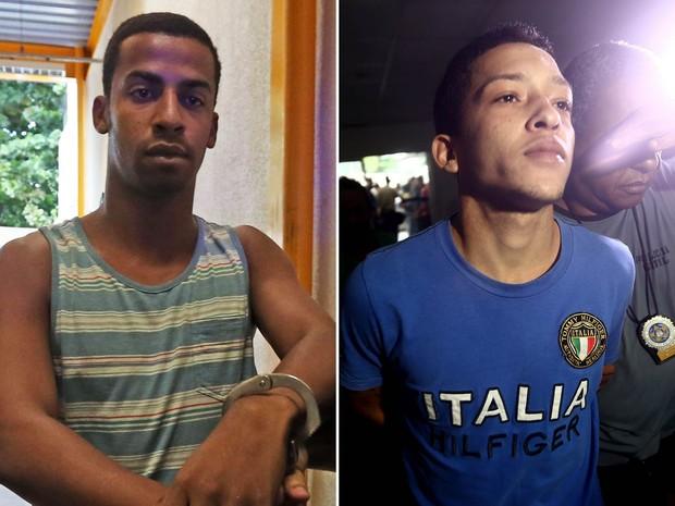 Raí de Souza, de 22 anos, e Lucas Perdomo Duarte Santos, de 20, suspeitos de participar do estupro coletivo de uma adolescente na Zona Oeste no Rio, são levados presos (Foto: Wilton Junior/Estadão Conteúdo)