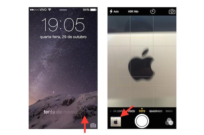 Acessando a câmera do iOS com a tela bloqueada (Foto: Reprodução/Marvin Costa)