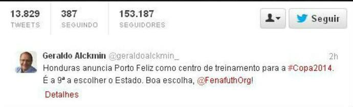 Alckmin, no twitter, confirma Honduras em Porto Feliz (Foto: Reprodução / Twitter)