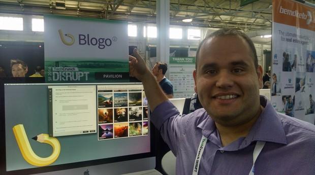 O empreendedor Amure Pinho no TechCrunch Disrupt, em São Francisco (EUA)
