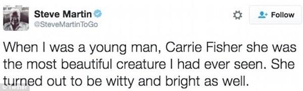 A piada apagada de Steve Martin sobre Carrie Fisher (Foto: Twitter)