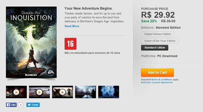 Tela do game no Origin (Foto: Reprodução/André Mello)
