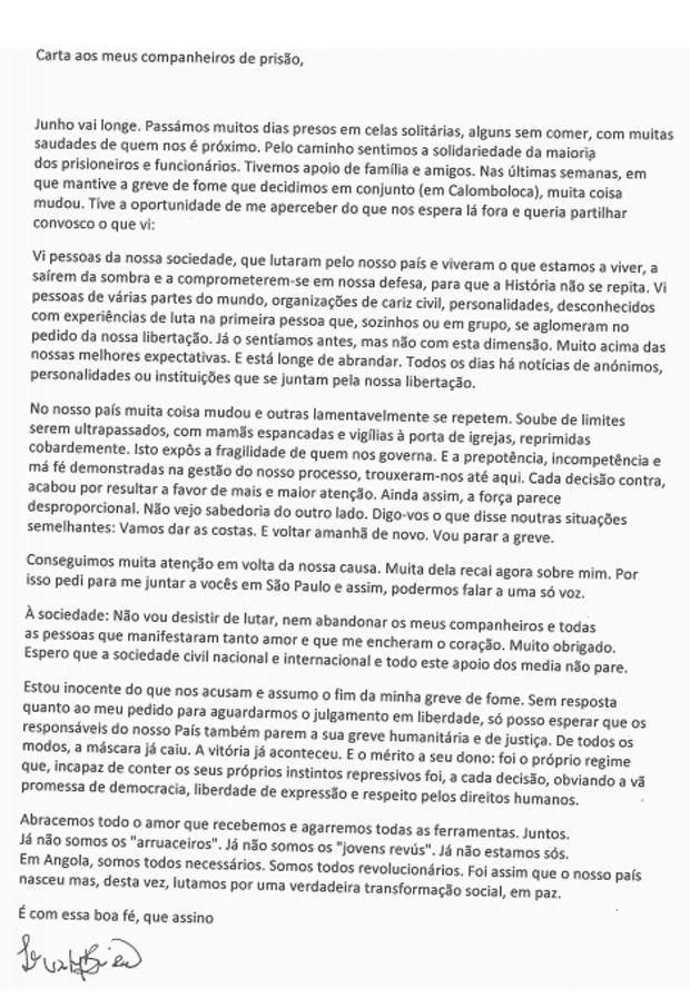 Site angolano divulgou carta de rapper Luaty Beirão (Foto: Reprodução/Rede Angola)