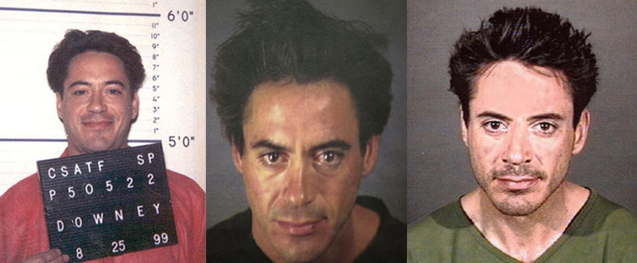 Robert Downey Jr. em 1999, 2000 e 2001 (Foto: Getty Images e Reprodução)