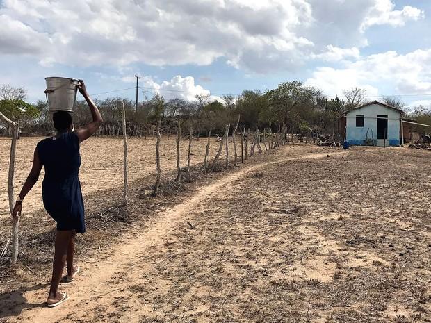 Bernadete tinha que andar 300 metros com balde na cabeça para levar água para casa (Foto: Alan Tiago Alves/G1)
