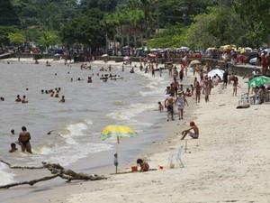 Praia do Murubira, na ilha do Mosqueiro, irá receber ações do Projeto Verão com Justiça, do TJE/PA. (Foto: Camila Lima/OLiberal)