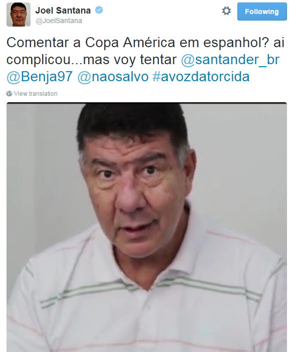 """BLOG: Joel Santana ataca no espanhol para """"comentar"""" Copa América: """"Voy tentar"""""""