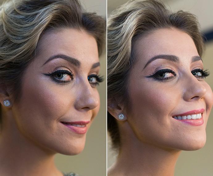 Luiza Possi com um batom mais cor de boca e olhos mais marcados no 'The Voice' (Foto: Gshow)