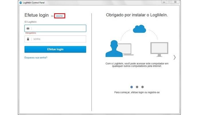 Primeira tela do LogMeIn após instalação (Foto: Reprodução/ Raquel Freire)