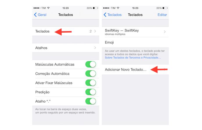 Acessando a página para adicionar um novo teclado virtual ao iOS (Foto: Reprodução/Marvin Costa)