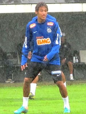 Neymar e Arouca no treino do Santos (Foto: Marcelo Hazan / Globoesporte.com)