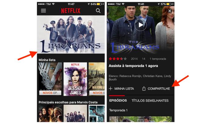 Acessando as opções de compartilhamento do Netflix para iPhone (Foto: Reprodução/Marvin Costa)
