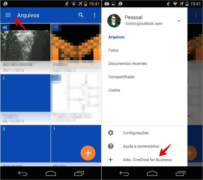 Adicionando conta do OneDrive for Business no app para Android (Foto: Reprodução/Helito Bijora)