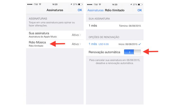 Acessando a tela de gerenciamento de assinatura do Rdio através da App Store do iPhone (Foto: Reprodução/Marvin Costa)