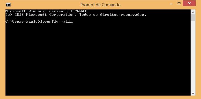 Digite o comando ipconfig /all (Foto: Reprodução/Paulo Alves)
