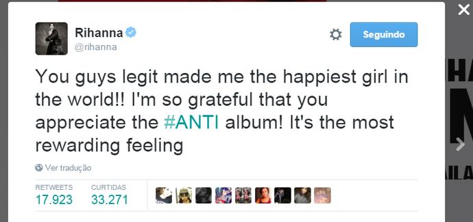 Rihanna agradece (Foto: Reprodução Internet)