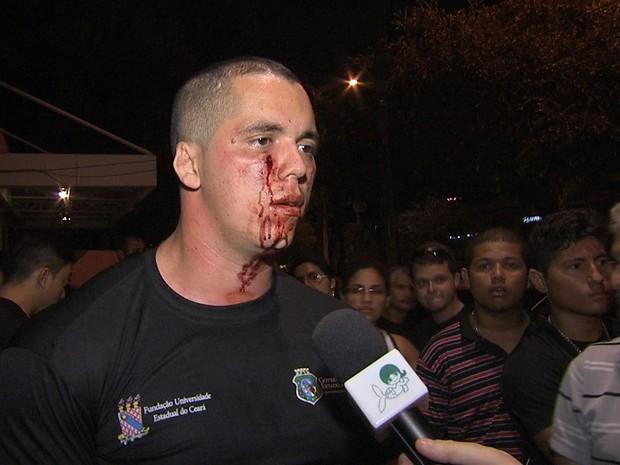 Agentes penitenciários entraram em confronto com a PM em protesto (Foto: TV Verdes Mares/Reprodução)