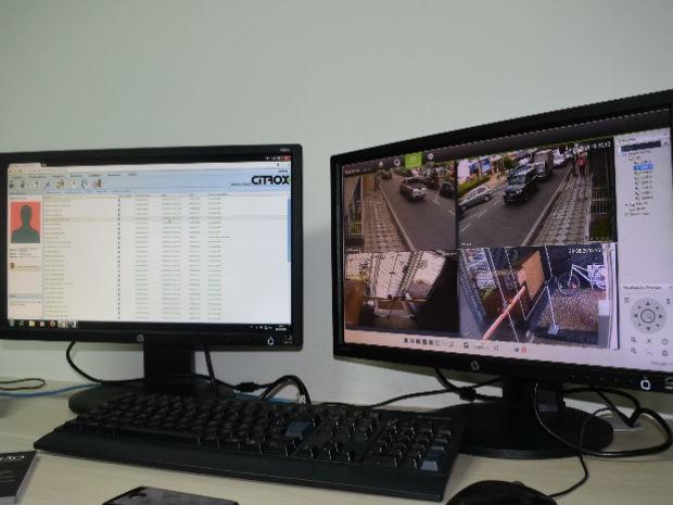 Monitores mostram banco de dados com cadastro e imagens do local monitorado (Foto: Divulgação)