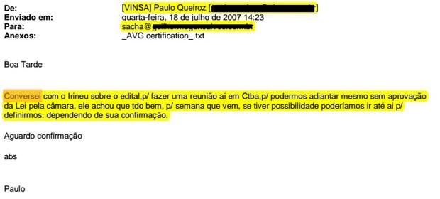 Trecho de e-mail de Paulo Queiroz sobre edital de Telêmaco Borba (Foto: Reprodução)