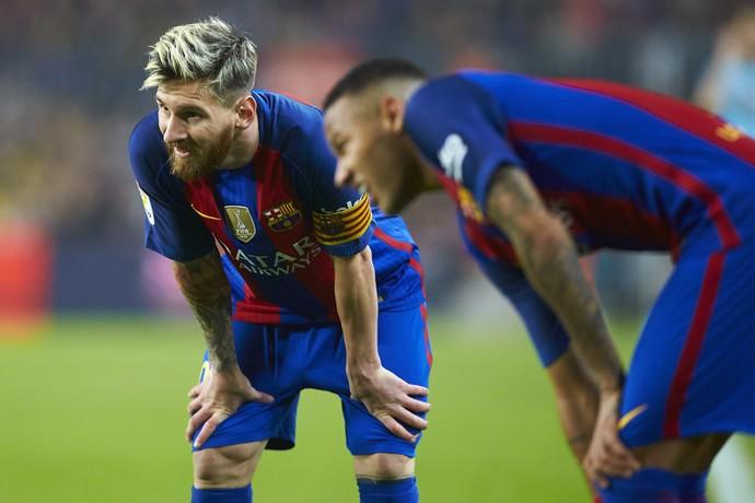 Neymar e Messi Barcelona x Granada (Foto: Alejandro García/EFE)