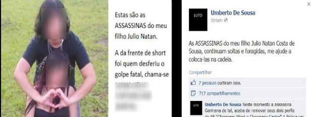 Pais postou em perfil no Facebook a foto de duas garotas que, segundo ele, são suspeitas na morte do filho (Foto: Reprodução/Facebook)
