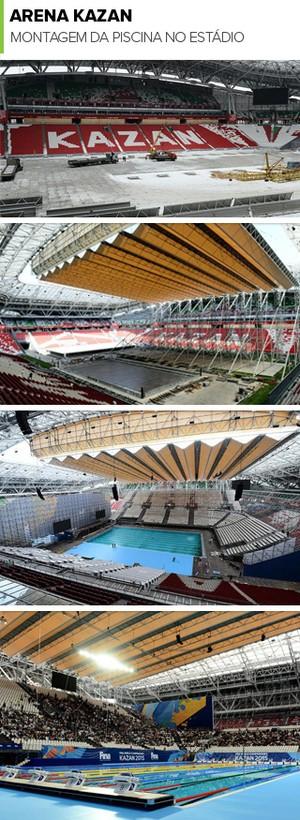 Mosaico montagem Piscina Arena Kazan (Foto: Divulgação / Kazan2015)