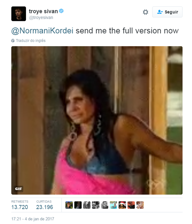 Troye Sivan compartilha meme da Gretchen (Foto: Reprodução/Twitter)