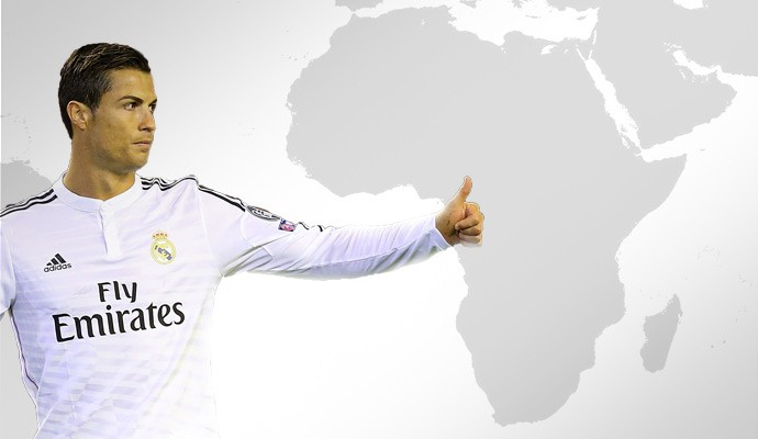 Cristiano Ronaldo Mapa Africa (Foto: Editoria de Arte)