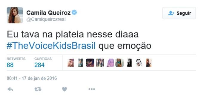 Camila Queiroz comenta terceira tarde de Audições do The Voice Kids em rede social (Foto: Reprodução)