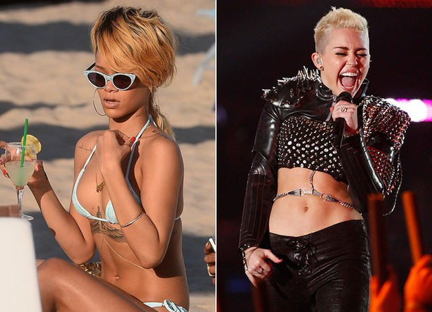 Body Chain - Rihanna e Miley Cyrus (Foto: Splash News | Reuters)